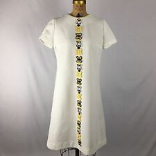 Vtg 60's White Dress With Trim Handmade Mod Yellow Piping Textured Sz L
