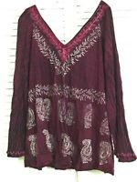 INDIA BOUTIQUE Pink Embroidered V-Neck Top Plus Free Size Boho Hippie Hippy