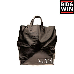RRP €560 VALENTINO GARAVANI Tote Bag Large Coated Twill Logo Patch Made in Italy