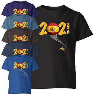 Spain 2021 Football Kids T Shirt Boys Soccer Training Jersey Sports Tee Top