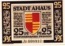 1921 Germany AHAUS 25  Pnennig  Notgeld / Banknote