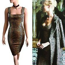 Nuevo Dolce & Gabbana D&G aeolians Estampado de Leopardo Cuello Cuadrado Vestido Talla 14 10 46
