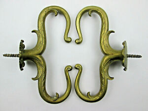 Antique Cast Brass Double Hook Curtain Holdbacks Stays 6 3/4 in Tall Classic