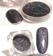 2pcs Holographic Powder Dust Grey Black Laser Glitter Shiny Holo Manicure Tips
