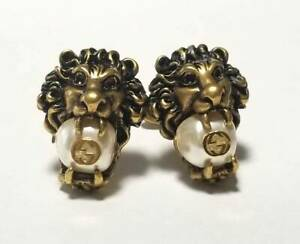 Authentic Gucci Cufflinks Lion Head Gold Men's Animal