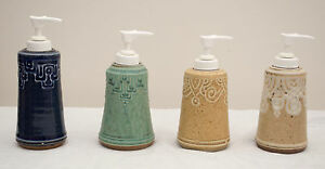 Made-in-the-USA Stoneware Soap/Lotion Dispenser by the Potters