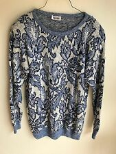 VTG Keren Women's Sweater in Cream & Blue Floral Design with Silver, USA