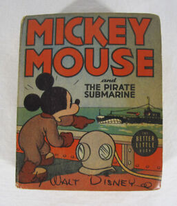Vintage 1939 MICKEY MOUSE AND THE PIRATE SUBMARINE Big Better Little Book #4 yqz