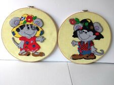 Lot Of 2 Embroidery Hoop Art Crochet Wall Art Mice couple Completed Art Wood F1
