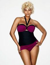 LANE Bryant Colorblock Swimsuit Tankini Sophie Theallet 2pc 36DD with 16 brief