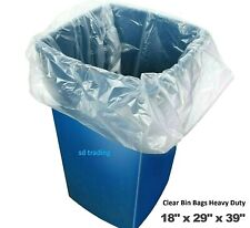 More details for 200 clear bin liners bags refuse sacks heavy duty rubbish waste bags 160g