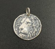 Handmade Unique Antiqued Sterling Silver Lion Head Round Charm Pendant Necklace