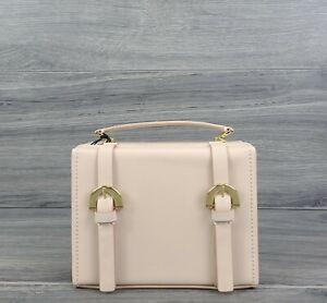 Zac Posen Crossbody Small Leather Biba Buckle Box Trunk Style Handbag Oat Beige