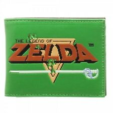 OFFICIAL THE LEGEND OF ZELDA 8-BIT LOGO GREEN BIFOLD WALLET (BRAND NEW)
