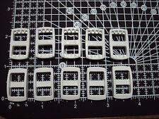"10pcs. White Plastic 3 Bar Slides Tri Glide Clip Buckles for Webbing - 10mm ""R"""