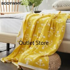 100% Cotton Handmade High Quality Soft Sofa Bed Knitted Blanket for Yellow