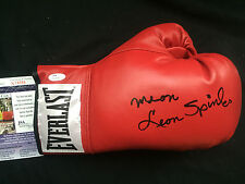 NEON LEON SPINKS Signed Autograph Auto Everlast Leather Lace Up Boxing Glove JSA