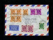 Germany 1951 Posthorn 40 pfg+5pfg + 4pfg X 2  Horiz Pairs  MiF on cover  to USA