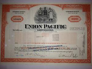 Union Pacific Railroad Corporation authentic collectible stock certificate