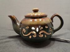 RARE Ceramic Teapot Lamp Electric Kitchen Dining Table Night Light Brown Beige
