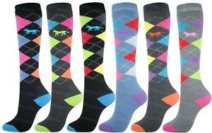 Ladies Ski Socks 3 Pairs Thermal Knee High Argyle Horse riding Long socks 4-7