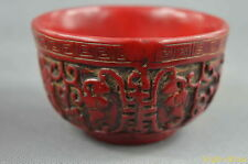 Collectable Handwork Old Coral Carved Grapes Vine Harvest Happiness Rare Bowl