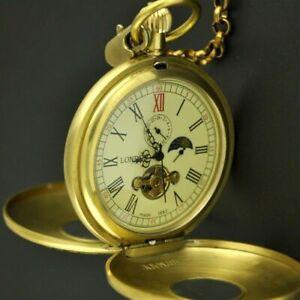 Luxury Tourbillon Moon Phase Double Hunter Swiss 1882'S Mechanical Pocket Watch