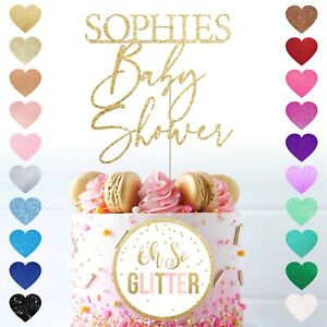 Customised Baby Shower cake topper any name custom glitter personalised reveal