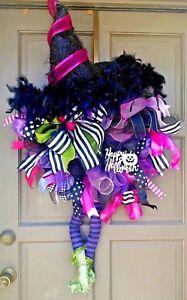 Halloween Witch Wreath Handmade Deco Mesh Door & Wall Decor w/ Legs & Hat
