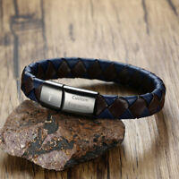 Medical Alert ID Men Braided Genuine Leather Bracelet Wristband Custom Engraving