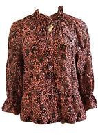 Derek Lam 10 Crosby Pink Floral Print Ruffled Sleeve Blouse Boho Hippie ChIc 4