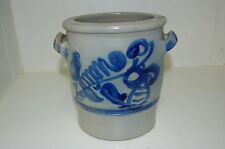 beau pot a oreille a decor bleu  en gres    ancien  occasion
