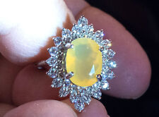 Solid SS 925 Lovely 11x9 mm Yellow Fire Opal and White Sapphire Ring - Size 7