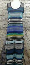 Sunny Taylor Womens Dress Size L Striped Sleeveless Shift Maxi (w-660)