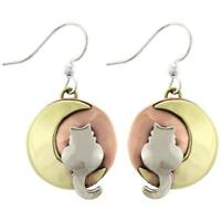 Far Fetched MOONBEAM KITTY CAT Earrings Silver Brass Dangle Mima Oly + Gift Box