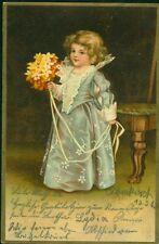 Alte Postkarte/Kleines Mädchen im festlichen Kleid, gel.1903, mit Briefmarke