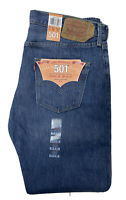 NWT Levi's 501 Button Fly Straight Leg Jeans Mens 34 X 32 Blue Denim New Shrink