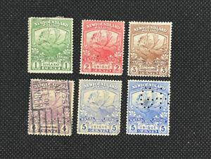 1919 Canada Newfoundland Stamps SC#115-9 Caribou Set Used + Extra Shade Of #119