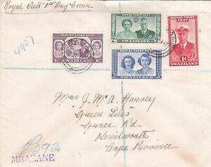 Swaziland 1947 Royal Visit Registered FDC Mbabane cancel VGC hand written