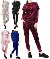 New Ladies Velour Velvet Crushed Peplum Ruffle Frill Two Piece Tracksuit 8-22