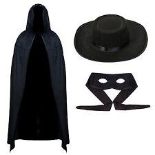 Mosquetero Bandido & Sombrero adultos Fancy Dress Mexicano Traje de Disfraz Legend of Zorro