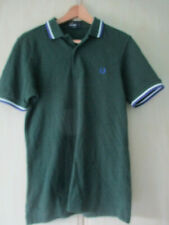 mens FRED PERRY GREEN COTTON POLO SHIRT SIZE SMALL SLIM FIT