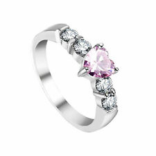 White Gold Over 925 Womens Day Pink Tourmaline Heart Engagement Ring 14k