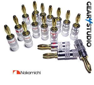 16x Nakamichi Banana Plugs HiFi High Quality Gold plated Speaker Plugs Audio Amp