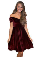 Plus Size Stretch Velvet Off Shoulder Flared Skater Dress Party Prom Occasion