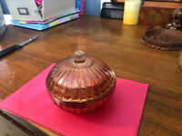 """Vintage Amber 5"""" Diameter Carnival Glass Lidded Candy Dish"""