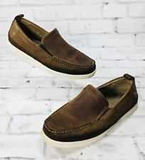 Margaritaville Men's Brown Leather Slip On Loafer Boat Shoe Size 10 Casual Boat