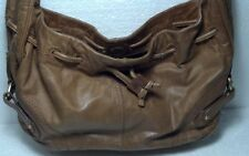 Brown Sigrid Olsen 100% Leather/Polyester woman's handbag gold tone hardware.