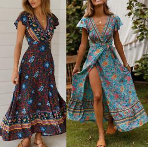 Women Plus Size Summer Ladies V-Neck Beach Short Sleeve BOHO Floral Maxi Dress