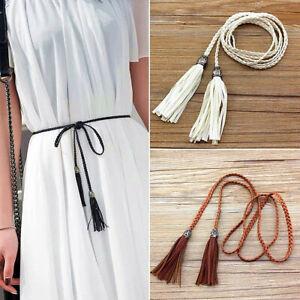 Braided Self-Tie Belts Women's Thin Skinny Waist Rope Belt Weave Bohemia Tassel